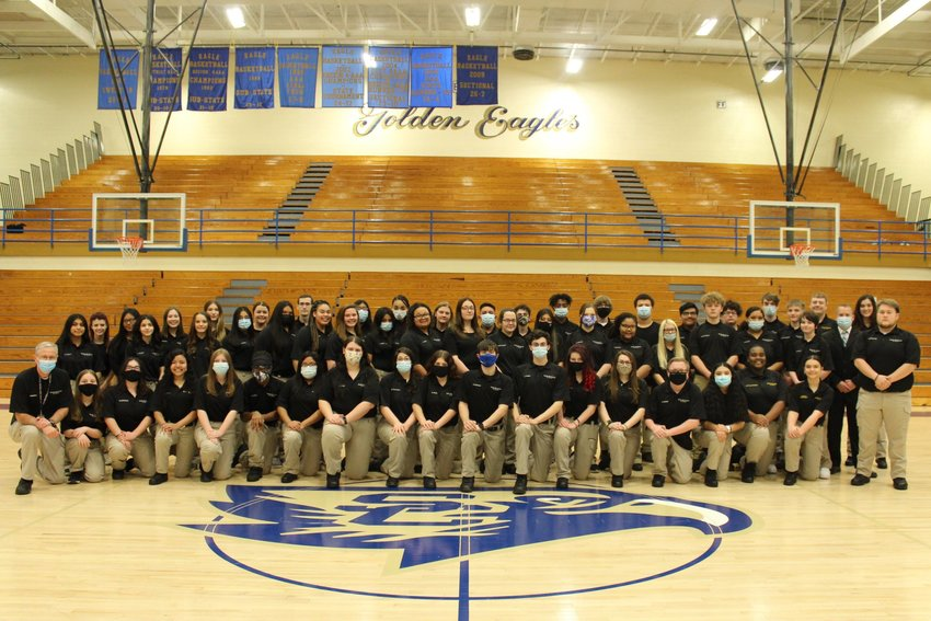 """Chris Hobbs, criminal justice instructor at Shelbyville Central High School shared this photo Thursday of the 2021 Criminal Justice Student Organization. """"Despite this difficult year we were still able to be a successful student organization,"""" Hobbs said."""