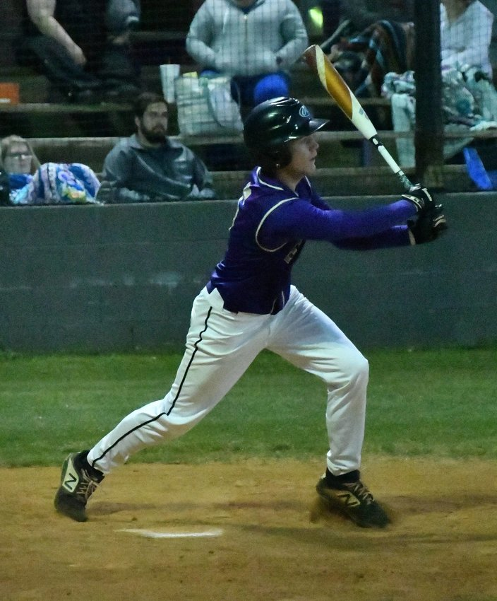 Corey Paterick of the Vikings drills a single. Paterick had two hits and two walks in the Community victory.