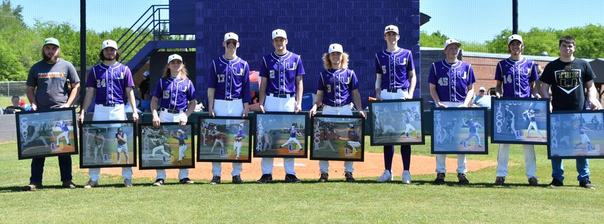 Eight seniors from the 2021 Community Viking baseball team plus two seniors from the 2020 pandemic-shortened season were recognized Saturday on Senior Day.  Pictured from left are 2020 senior Cody Woodall, Tyler Bolden, Zander Thurber, Will Reed, Jackson Bailey, Jacob Cooper, Evan Petrie, Ethan Greer, Jacob Hawkins, and 2020 senior Ethan Lohn.