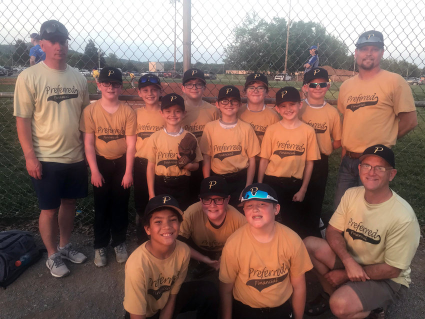 Preferred Financial 10U baseball team finished their Bedford County baseball season unbeaten during the 2021 Spring season. They went 13-0 in the regular season then winning two tournament games going 15-0 overall winning both the season and tournament championship.  Team members are (front row, from left) Isayah Powel, Lucas Cartwright, Trevor Mills, Coach Mike Small; (second row) Webb Schmidt, Jasper Small, Logan Smith; (third row) Coach Kevin Roddy, Ethan Bell, Jake Ware, Nolan Martin, Owen Perry, Cole Roddy and Coach John Schmidt.
