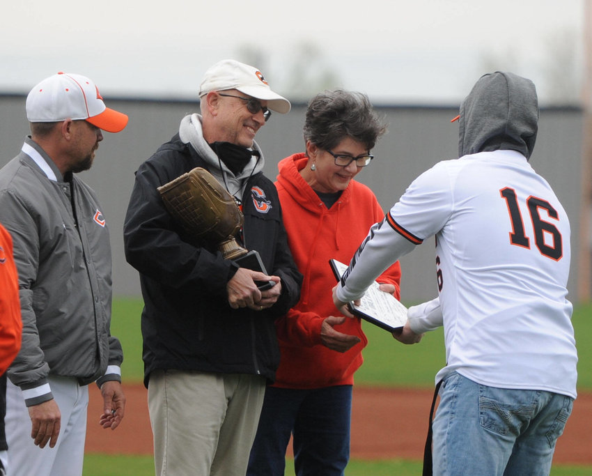During a baseball game earlier this spring, the Cascade Champion coaching staff presented Athletic Director Dale Rucker and his wife Linda with a commemorative plaque, honoring all their commitments to Cascade throughout the years.