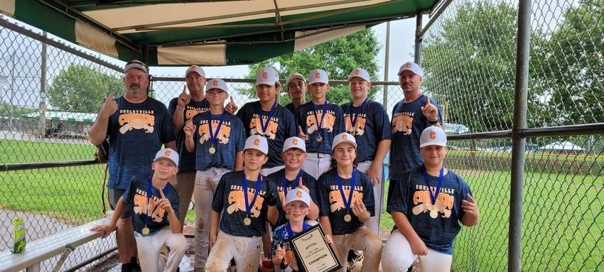 Over the weekend, the Shelbyville Crushers won the TYBA State Championship in the 11-12 Rec. Division. Players who were on the championship team were (bottom row) bat boy Stone Maddox; (kneeling) River Maddox, Tyler Rodgers, Corbin Cauthers, Braxtyn Burris, Ashton Whorley; (standing) Coach Tim Burns, Dawson Youngblood, Miguel Ramirez, Ryan Sharp, Colton Clardy, Coach Clay Youngblood; (Back row) Coach Eric Maddox and Jaxon Milliken.