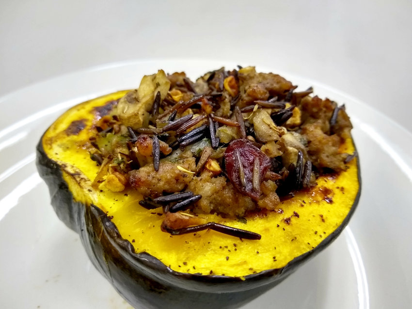 Acorn squash is a perfect pair with this stuffing.