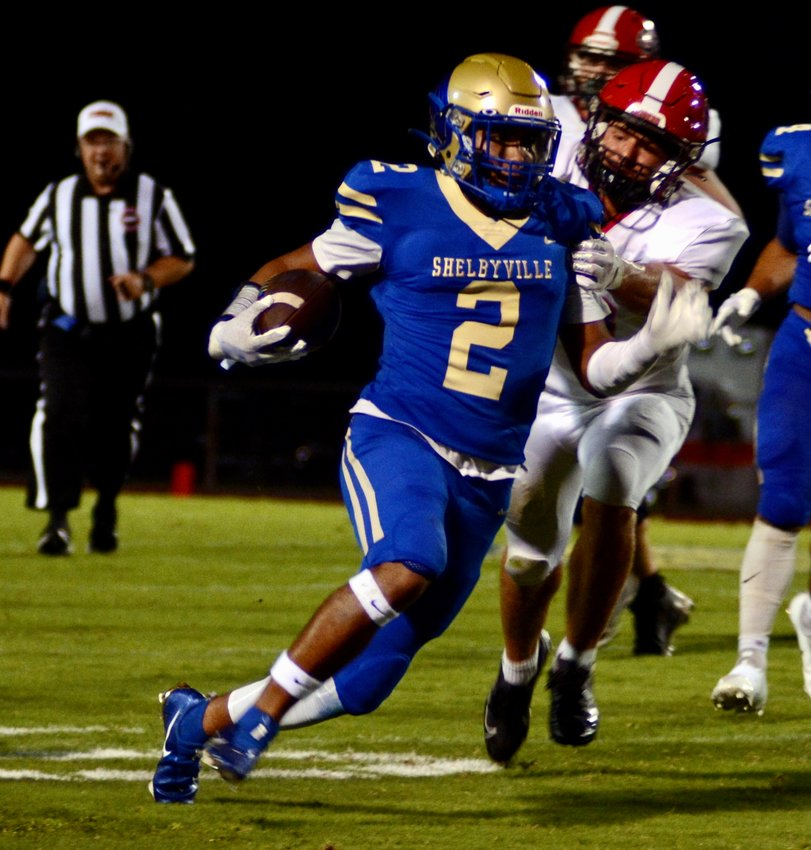 Shelbyville Central senior Cam Grogan turned in an outstanding all-around performance in the Eagles region win over Coffee County on Friday night. He caught three touchdown passes and intercepted a passes, including one for a touchdown.