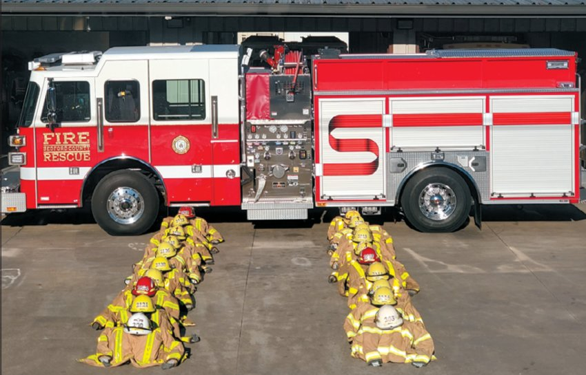 Bedford County Fire Department and Shelbyville Fire Department teamed to set up this display honoring first responders on 9/11.