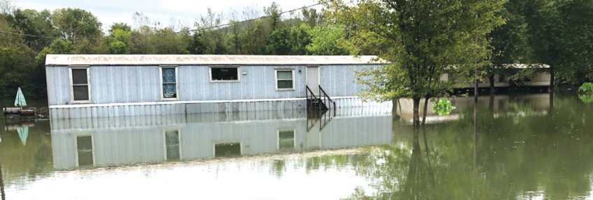 Mobile homes on Front Street in Normandy flooded during heavy rains over the weekend.