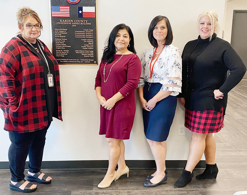 The Hardin County Crime Victims' Assistant Center's 5-person staff consists of (left to right) Jennifer Callaway, Marisol Gutierrez, Glenda Jacks and Kelly Burke. Not pictured is Teresa Grimes.