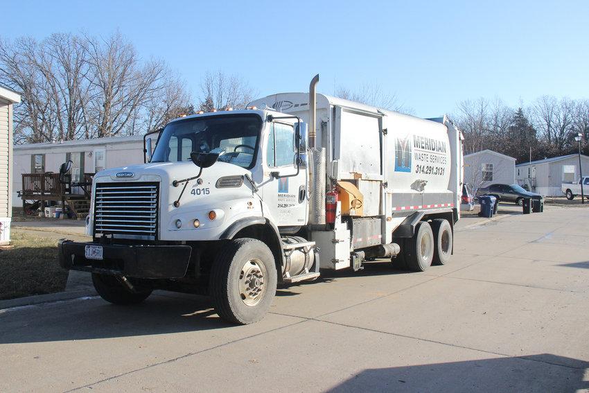 A Meridian Waste trash truck.