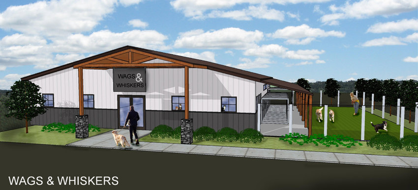 PLANNED SHELTER — This rendering shows the potential exterior view of a 3,000-square-foot animal shelter being planned for construction on Highway M near Highway F. A nonprofit organization will manage the shelter.Submitted image.