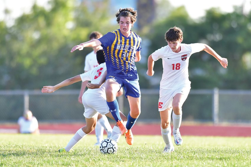 HAT TRICK — Wright City's Austin Kirn, shown in a game against Elsberry, had three goals in a 6-0 win over Liberty Christian Monday. Logan McCartney added two goals for the Wildcats, who are 4-5 on the season.