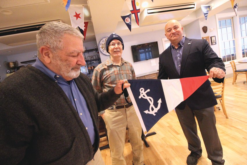FLAG OFFICERS: No one is keeping count, but it's been at least a decade since all three flag officers at the Edgewood Yacht Club are Cranston residents. With Commodore Ken Gilbert, left, are Chris Lee and Vin DelloIacono.