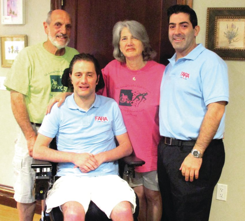 """FAMILY FIRST: Pictured in this file photo from 2017, from left to right, Jack, Matt and Sallyann DiIorio are joined by Race for Matt and Grace co-chair Michael Crawley. Sallyann said family and friends have been """"very crucial"""" to getting through the past year."""