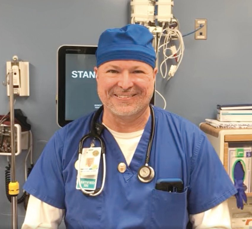 PANDEMIC PERSEVERANCE: CharterCare nurse Timothy Aurelio invented the N95 Mask Preserver after speaking to a security guard who kept his crushed mask in a brown paper bag around his belt loop.