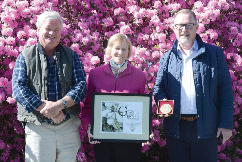 Preservation Society of Newport County CEO and Executive Director Trudy Coxe, center, with Director of Gardens and Grounds Jeff Curtis, left, and Curator of Historic Landscapes and Horticulture Jim Donahue.
