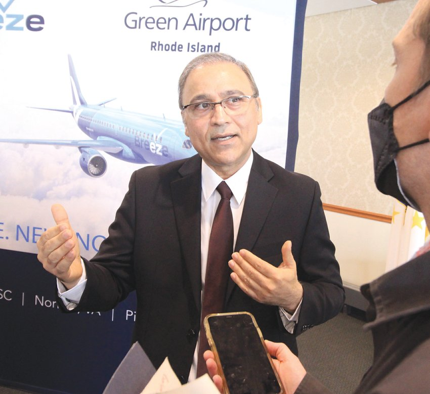 FILLING IN THE DETAILS: Iftikhar Ahmad, president and CEO of the Rhode Island Airport Corp., answers news media questions about Breeze Airways, which will commence service from Rhode Island to three destinations in late July.