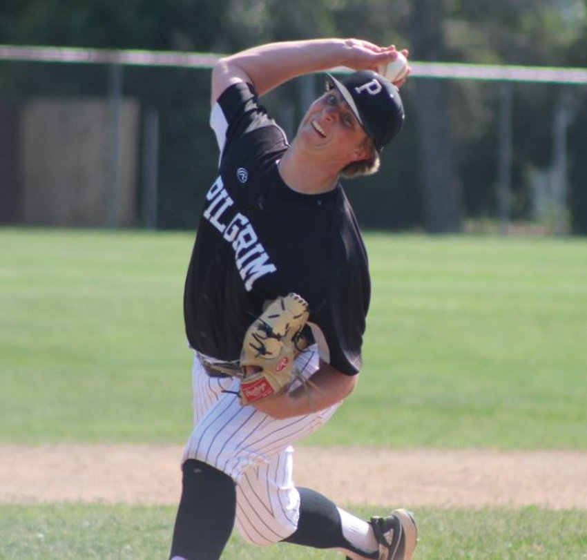 ACE: Pilgrim pitcher Jared Reminder delivers a pitch against Cranston East last week.