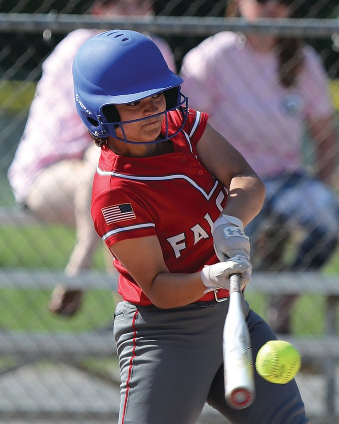 AT THE DISH: Cranston West's Cadence Koenig takes a swing against La Salle. (Photos by Mike Zawistoski)