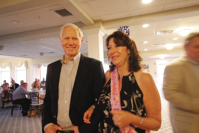 CELEBRATING BIRTHDAYS: Bill Riggs and his daughter-in-law Karen, who were given a joint surprise birthday party Saturday at Warwick Country Club. (Warwick Beacon photo)