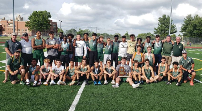 STATE CHAMPS: The Bishop Hendricken outdoor track and field team after winning at states.