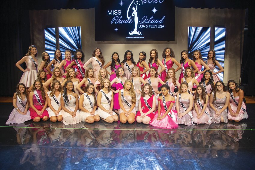 ON THE STAGE: The contestants for Miss Teen Rhode Island 2020 honors gather in this photo provided by the pageant.