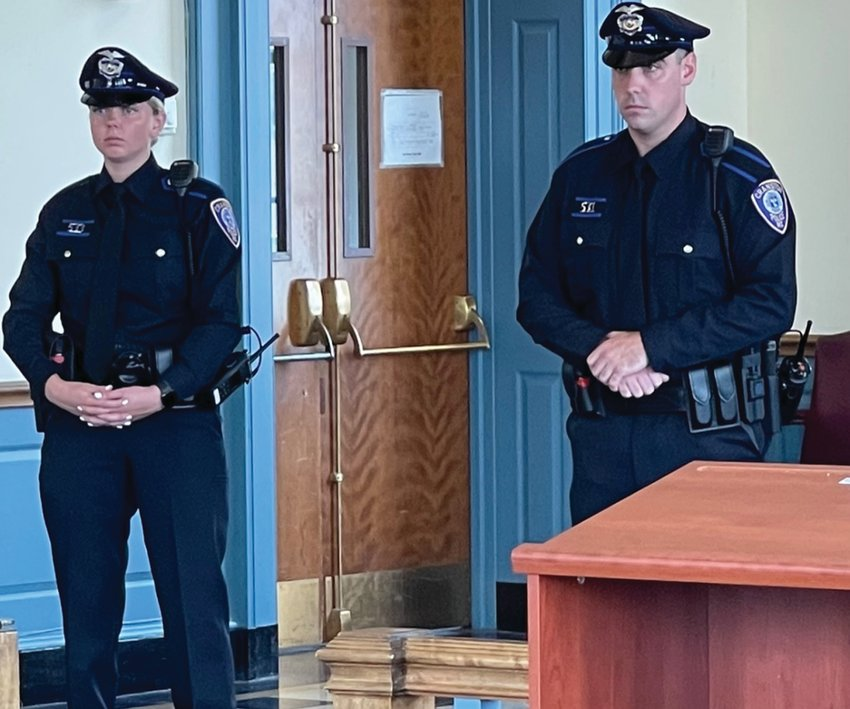 JOINING THE RANKS: Officers Kayleigh Cooper, left, and Brian Brothers were sworn in as members of the Cranston Police Department during a ceremony held last week at City Hall.