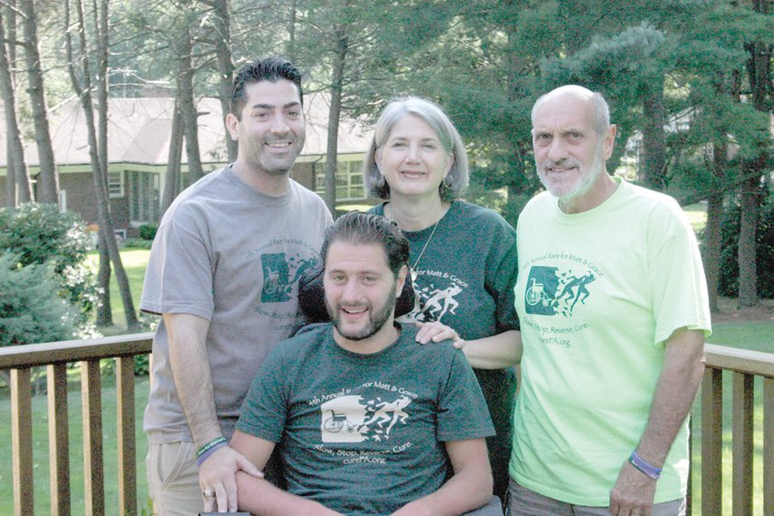 FA-MILY: Matt DiIorio (at front), his family and friends believed connecting with the FA community made a major difference in their lives. Pictured, back from left, are Michael Crawley, Sally Ann DiIorio and Jack DiIorio.