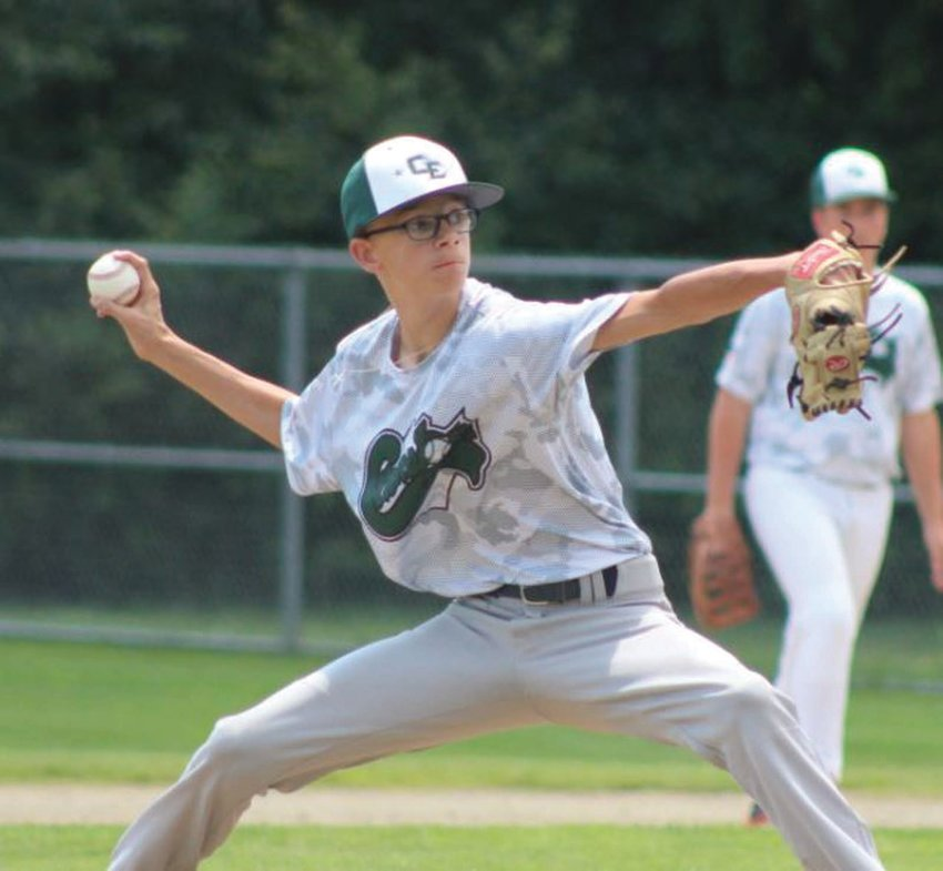 ACE: Cranston East starting pitcher Cameron Boulanger winds up to deliver last week against Barrington. Boulanger has been the East juniors' top hurler this summer as the club battles its way through the state tournament after winning the district title.