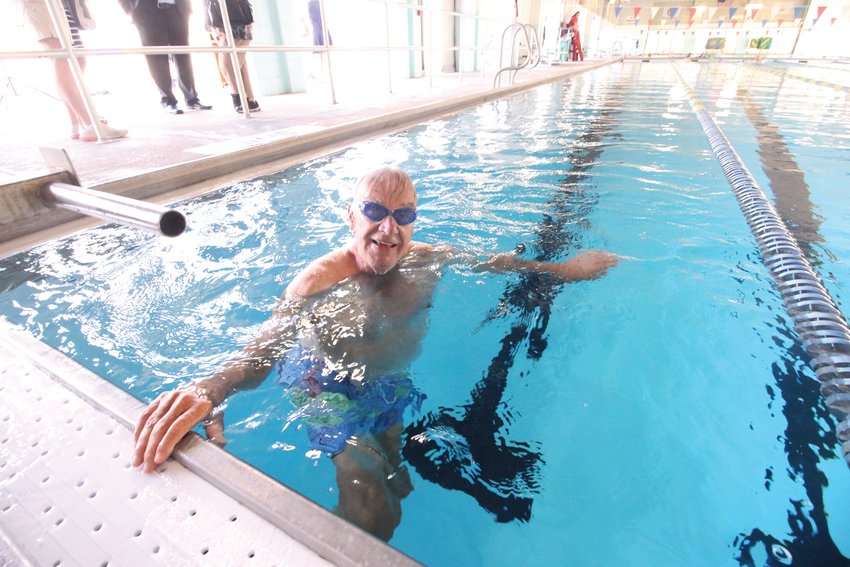 ALL WET AND HE LOVES IT: Bill Harrington went to the gym during the extended closure of the pool. Now that's it's reopened he's happy to get wet.