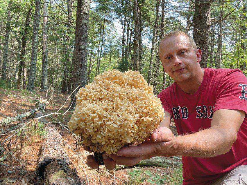 RARE FIND: Bill Ladd of West Warwick with an elusive Cauliflower mushroom.