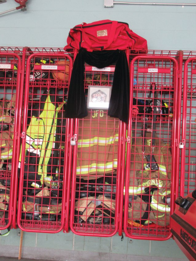GEMMA'S GEAR: This is the late Richard Gemma's still-full locker inside JFD headquarters, which serves as a reminder and memorial to the late firefighter.