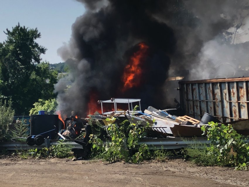BIG BANG: An explosion and fire erupted at J&S Scrap Metal & Recycling Inc. at 36 Starr St. Two firefighters were treated for heat exhaustion after battling the blaze.
