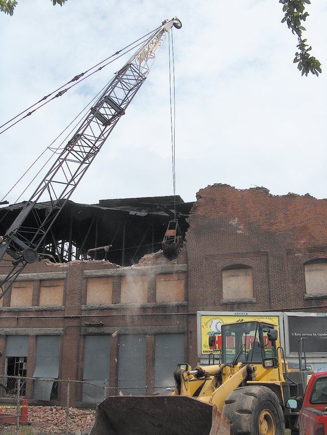 FROM THE PAST: The Trolley Barn on Cranston Street is demolished in this 2005 file photo