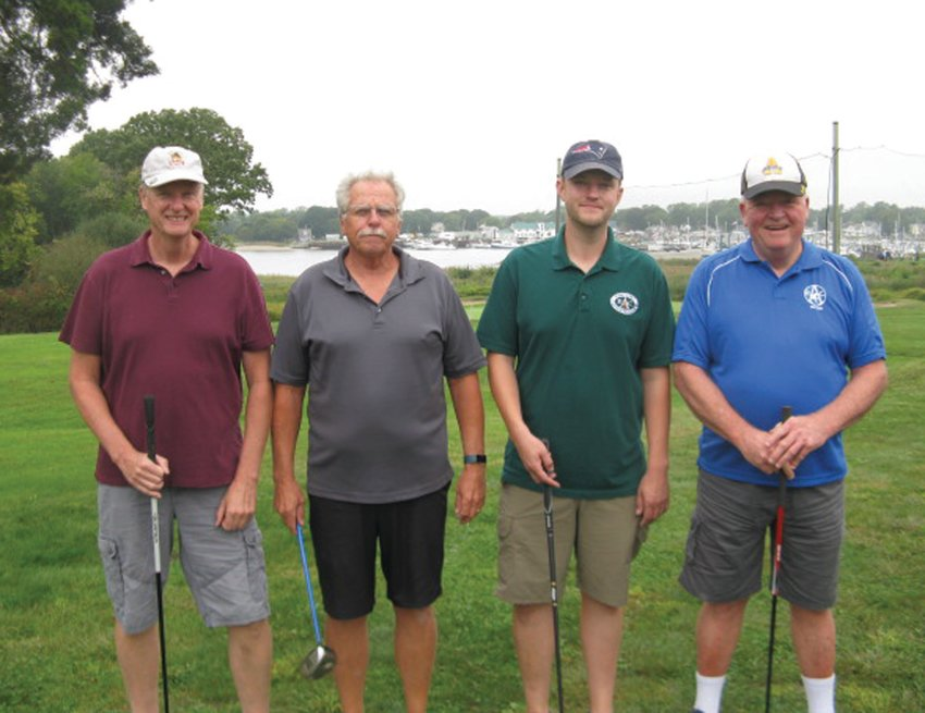 """FIRST FOURSOME: This is one of 18 groups that played in the Albert """"Cookie"""" Memorial Golf Tournament and received a personalized photo. The foursome includes: Tom Horton, Mike Horton, Mike Horton Jr. and Joe White."""