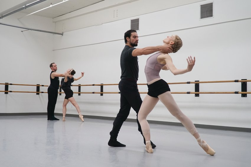 """RETURNING TO THE STAGE: From left, Alex Lantz, Anna Lisa Wilkins, Mamuka Kikalishvili and Katherine Bickford will be part of Festival Ballet Providence's performances of """"Continuing Points."""""""