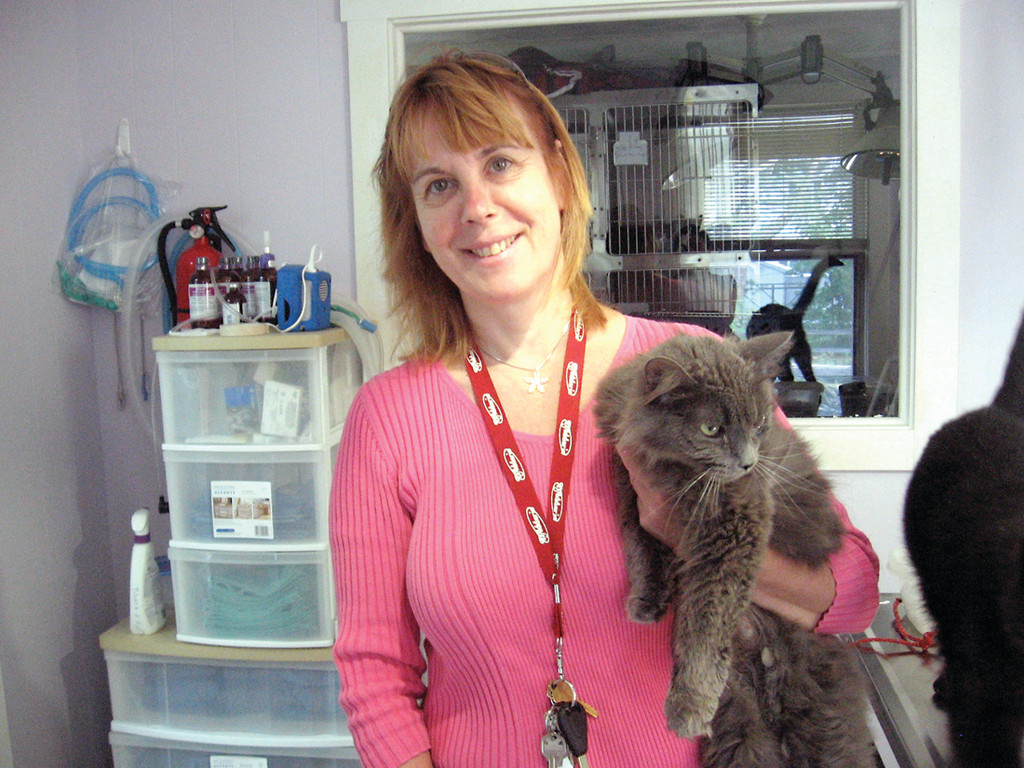 VALUABLE VET: In 2009 Veterinarian Dr. Annette Rauch opened Care For Animals, a primary care clinic at 2944 Post Road that offers low-income pet owners affordable medical assistance for their pets. In addition to caring for feral cats, as well as cats or small dogs that are homeless or in local shelters, she also houses animals available for adoption. She holds Audrey, an adult cat in need of a home.
