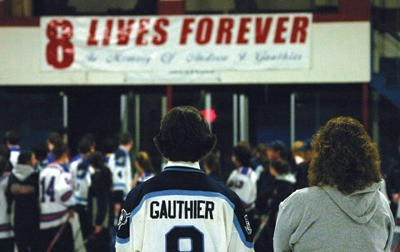 FOREVER: The banner honoring Andrew Gauthier hangs at Thayer Arena. The hockey festival celebrated its seventh year in 2014.