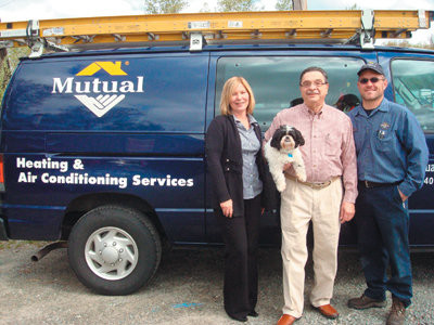 Meet Mutual Engineering�s office manager Gail St. Pierre, General Manager David Epstein (with company mascot �Gus�), and Service Supervisor Tom Labrecque.