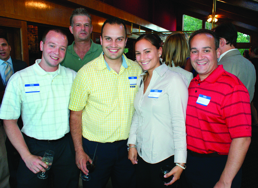 MEDIAPEEL MAKES NETWORKING FUN: Pictured are members of the Mediapeel family, Dan Mercer, Tim Snow, Mike Mota, Amanda D'Amore and Anthony Gemma during last week's networking night at Twin Oaks.