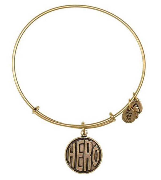 "BE A HERO: The Hero bracelet is part of Alex and Ani's ""Charity By Design Line"" and 20 percent of proceeds from sales of the bracelet are donated to Hasbro Children's Hospital."