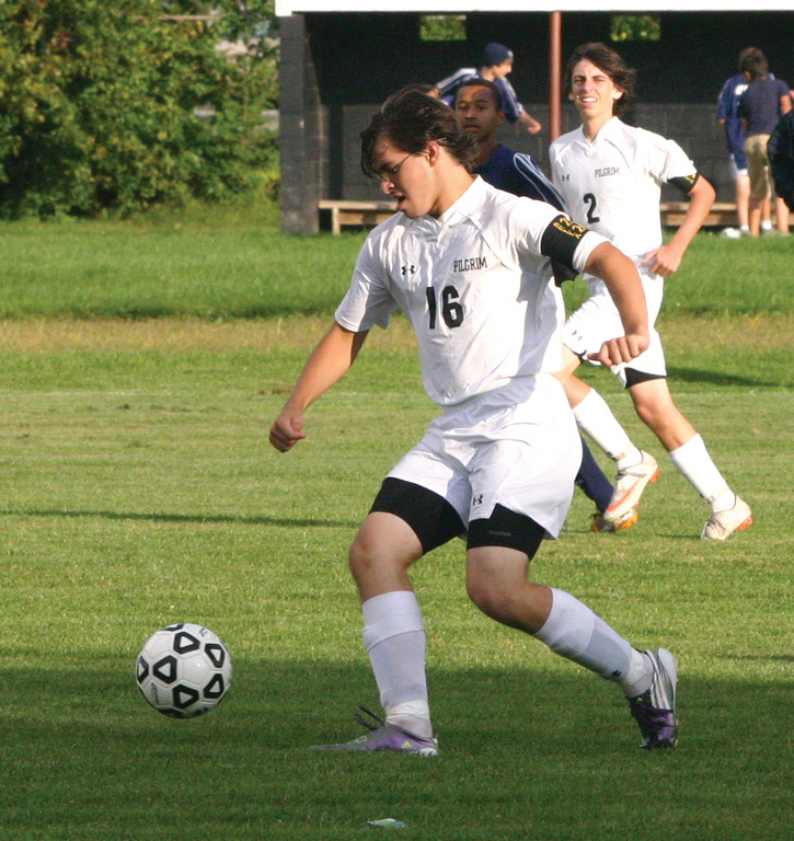 BALL CONTROL: Christian White tries to set up a shot after carrying the ball upfield in Tuesday's game.