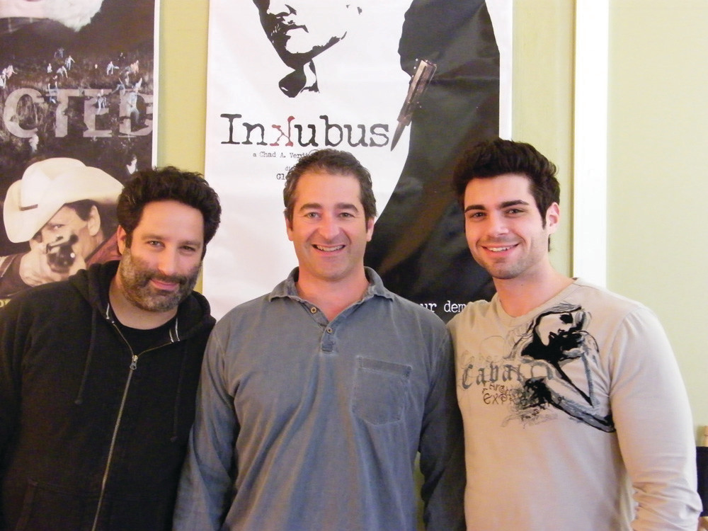 MATINEE IDOLS: From left, the men of Woodhaven Films� �Inkubus�: Glenn Ciano, producer and director; Chad Verdi, president of Woodhaven Films and producer; and Tom DeNucci, local actor.
