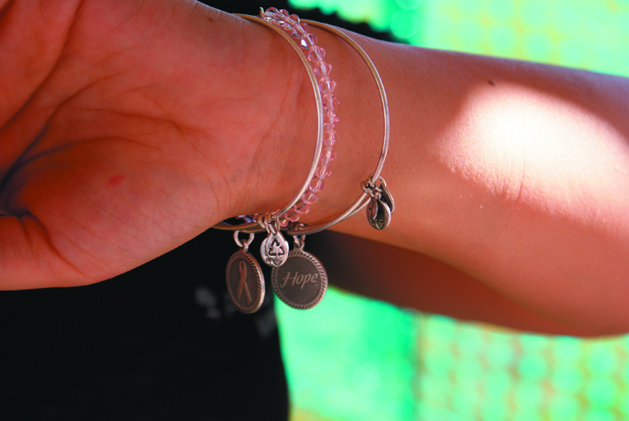 NEW BANGLES: Alex & Ani, located in Cranston, created a few new bangles officially launched during the Flames of Hope weekend celebration. Their bangles include a symbolic ribbon, a hope sign and a double bangle with pink beads.