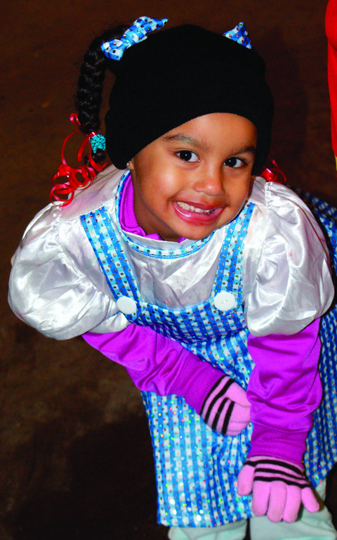 IS THIS OZ? Pictured is 3-year-old Aniyah Aguilar hamming it up to the camera to show off her Halloween costume.