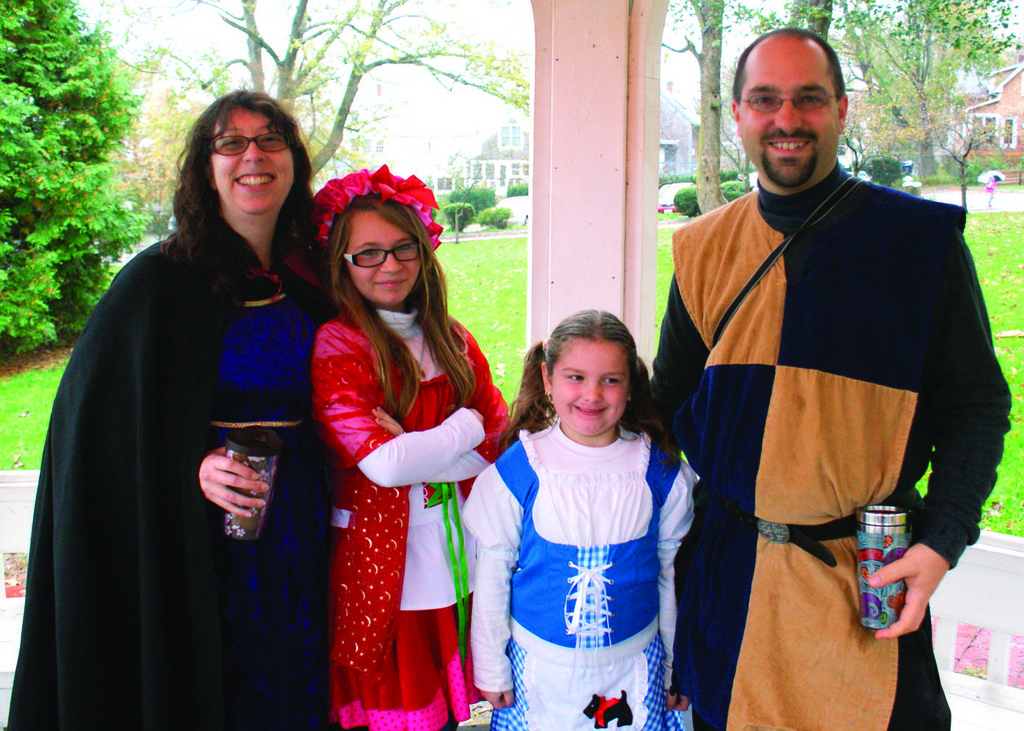 VILLAGE HAUNTS: Jen Milette, Rebecca Moore, Kaelyn Wood as Dorothy and Jeff Milette as the Knight in Tunic.