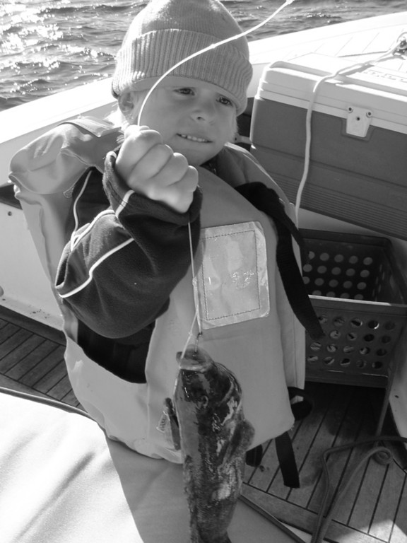Four-year-old Liam Palumbo of North Kingstown, RI with the first tautog he ever caught this weekend off the north end of Hope Island on No Fluke Charters.