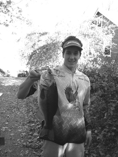 Chris Catucci of Warwick, RI with the bass he caught last week at Warwick Pond.