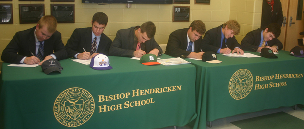 MOVING ON: Six Hendricken baseball players signed letters of intent on Wednesday to continue their careers in college. Pictured, from left, P.J. Murray, Rich Bacon, Tom Pannone, Billy Walker, Reed Gamache, Bobby Indeglia.