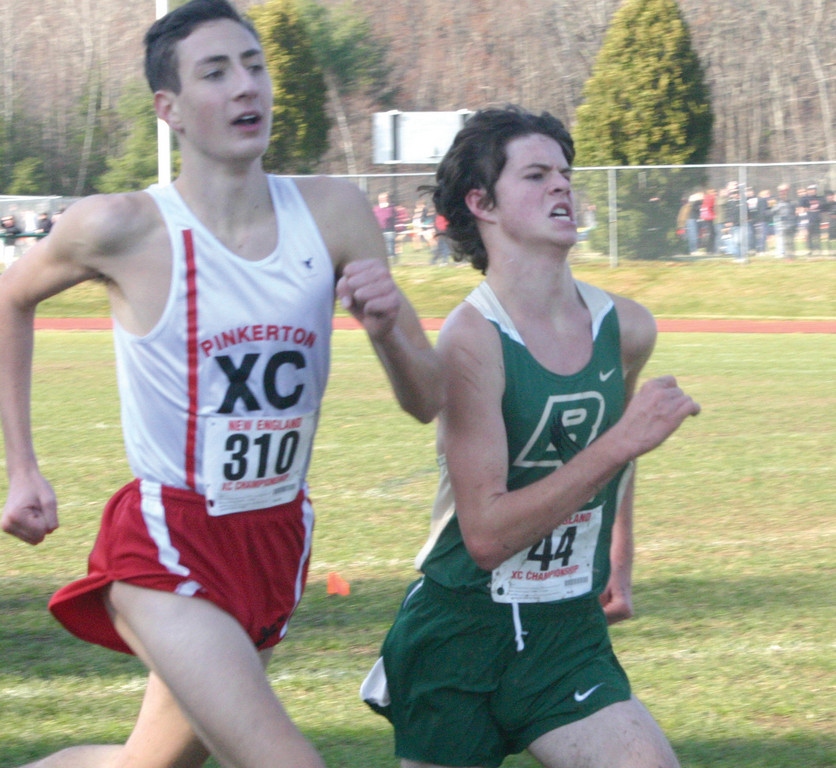 FINISHING KICK: Hendricken's Colin Tierney sprints to the finish line in Saturday's New England Championship at Ponaganset High School.