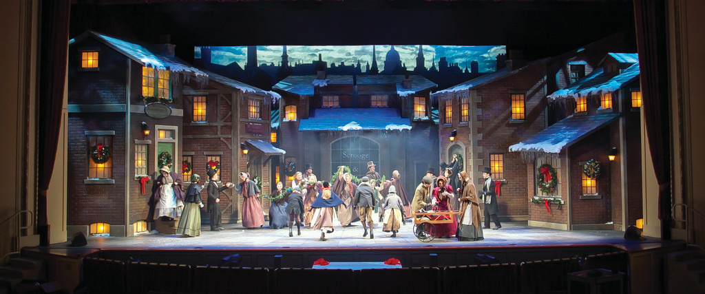 "A GRAND FINALE: The full company of the 2010 production of ""A Christmas Carol"" at the Hanover Theatre for the Performing Arts in the final number."