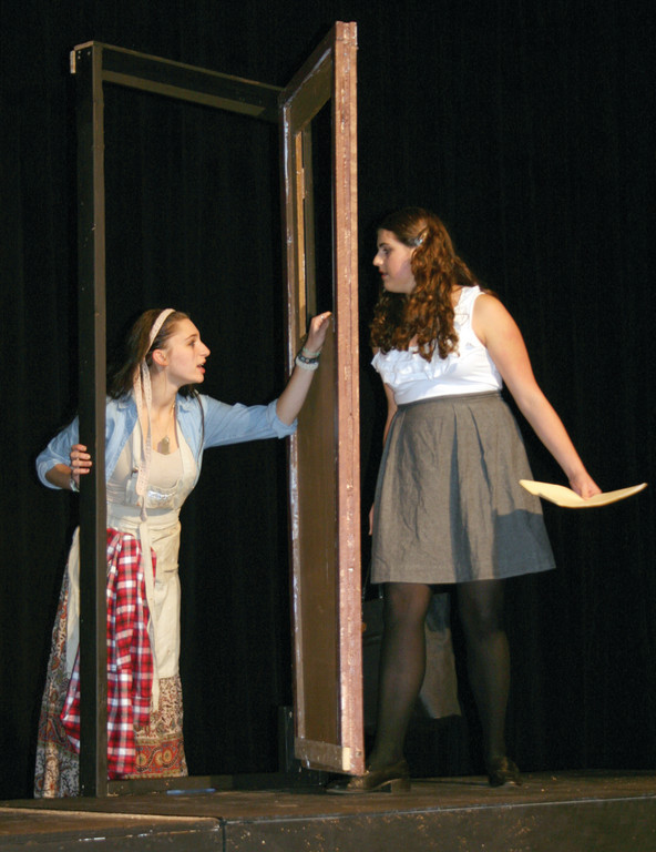 "MIRROR IMAGES: Marissa DiStaolo and Jenny Egan play Carla and Maggie in ""Sentences and Words"" by Cynthia L. Cooper."